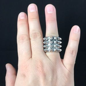 Silver spiked ring